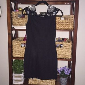 Black bodycon dress with bling